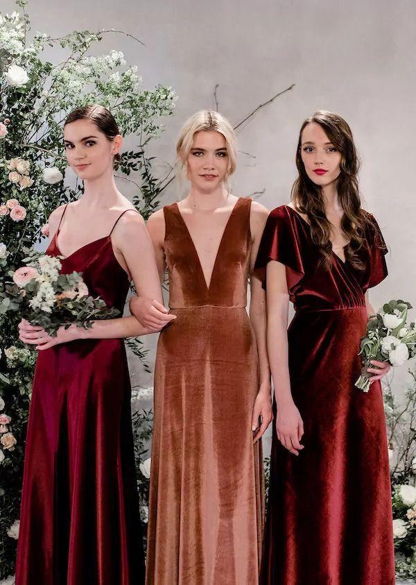 320c76c15462 Velvet bridesmaid dresses #wedding #weddings #engaged #weddinginspiration  #aislesociety #engagement #bridesmaids