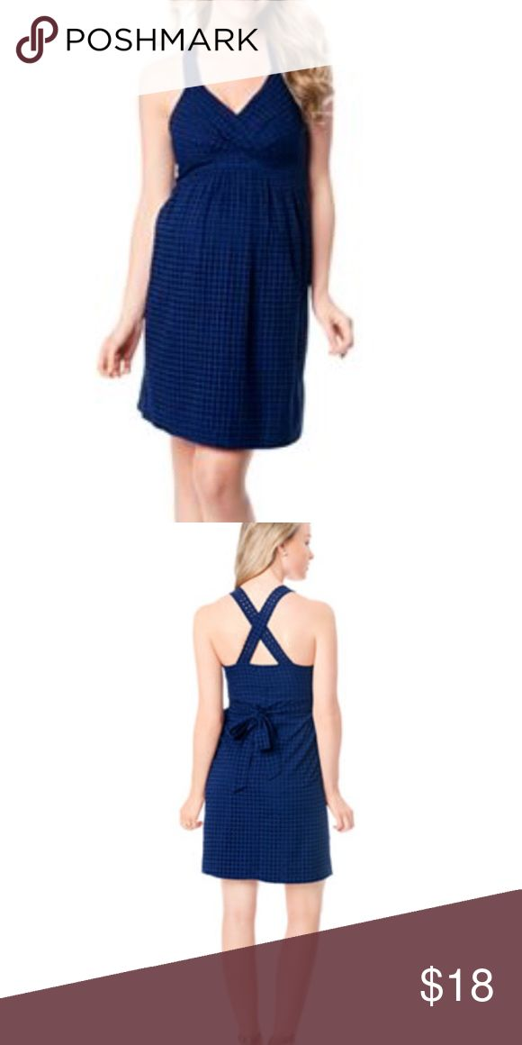 Motherhood Maternity Blue CrossBack Dress Pretty navy eyelet detail. This dress makes me feel beautiful while I am expecting, but it's a little big. (I have it in two other colors, in L!) It's effortlessly cute, and gathered bodice and empire waist flatter your new curves! ✅Top 10% Seller ✅Fast rated Shipper ✅Top Rated ✅Suggested User ✅Party CoHost ✅ *images taken from google Motherhood Maternity Dresses