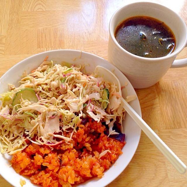 6月最初の朝食 - 38件のもぐもぐ - ベーコンライス・バルサミコ酢サラダ・わかめスープ by taroumasaydyZ