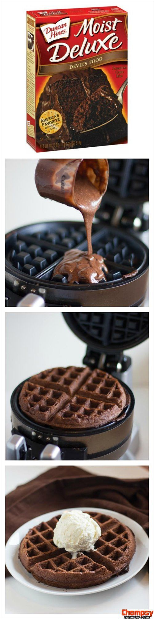 waffle cake and ice cream... I have a waffle grill, I should use it more...