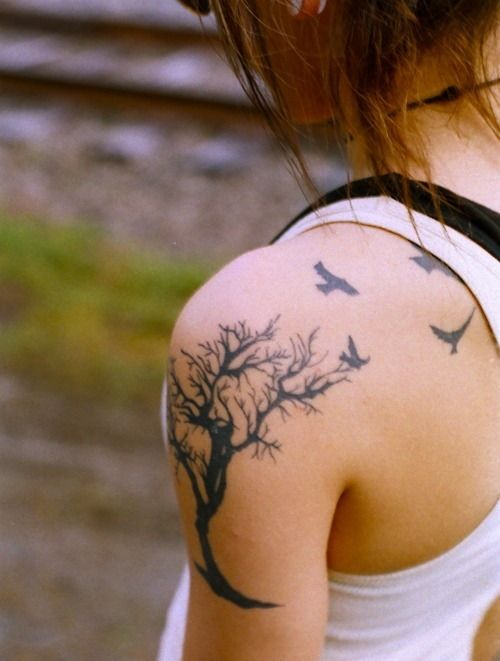 Shoulder Tree with Birds Tattoo for Girls | Tattoos Clan