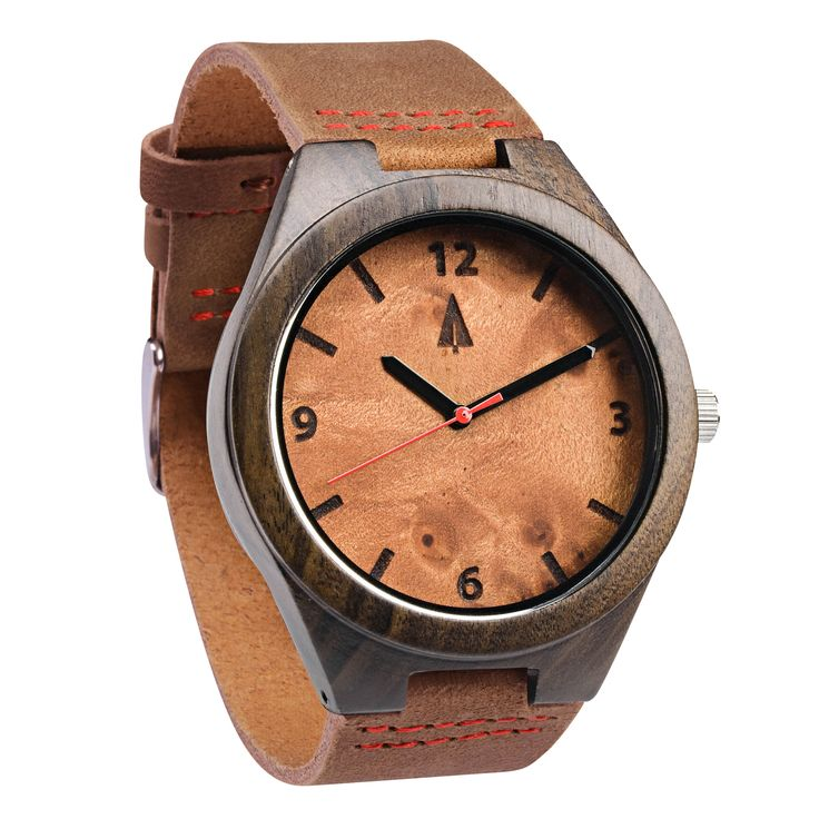 Tree Hut Black Leather Wooden Watch | Maple Burl