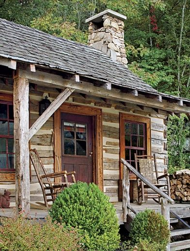Traditional hewn log cabin . . . so well built that even today, you can find antique ones for sale.