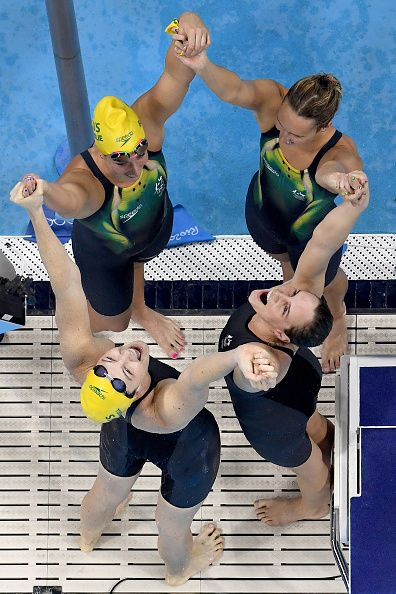 #RIO2016 - Best of Day 1 - Emma McKeon Brittany Elmslie Bronte Campbell and Cate Campbell of Australia celebrate winning gold and a new world record in the Final of the Women's...