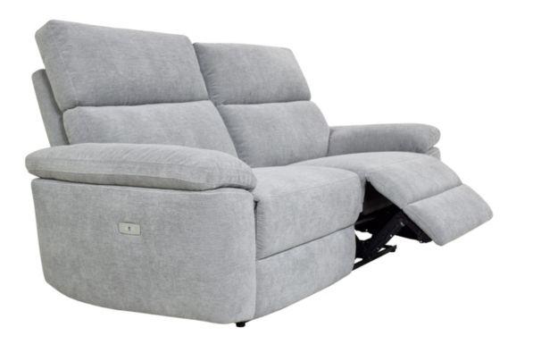 Canape 3 Places 2 Relax Electriques Orion Tissu Gris Clair Canape 3 Places Canape Relax Canape Classique