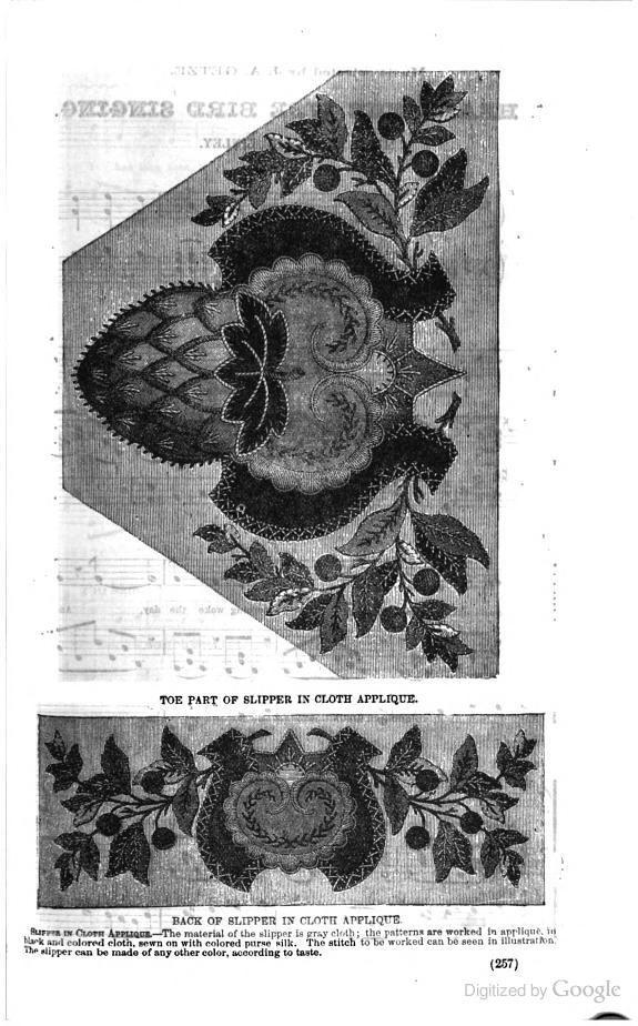 1869, Arthur's Lady's Home Magazine. Slipper in cloth applique.