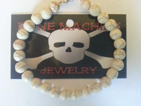 White Howlite Round Bead Bracelet. by BoneMachineJewelry on Etsy, $12.50