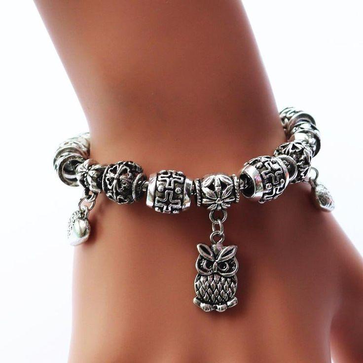Vintage Owl Charm Bracelet