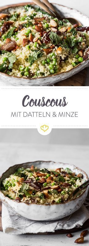Couscous Salat mit Datteln und Minze. Entdeckt von Vegalife Rocks: www.vegaliferocks.de✨ I Fleischlos glücklich, fit & Gesund✨ I Follow me for more vegan inspiration @vegaliferocks