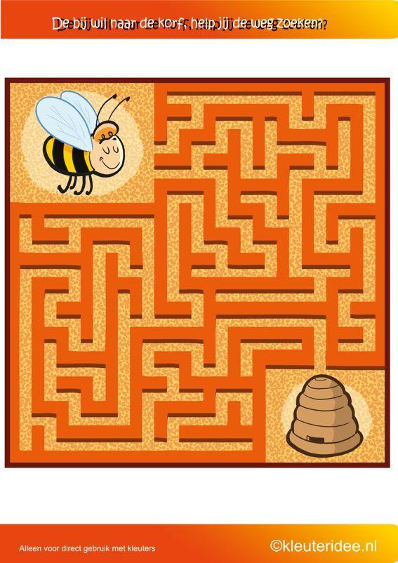 Zoek de weg naar de bijenkorf, thema bijen,  kleuteridee.nl , where is the bee hive, free printable.