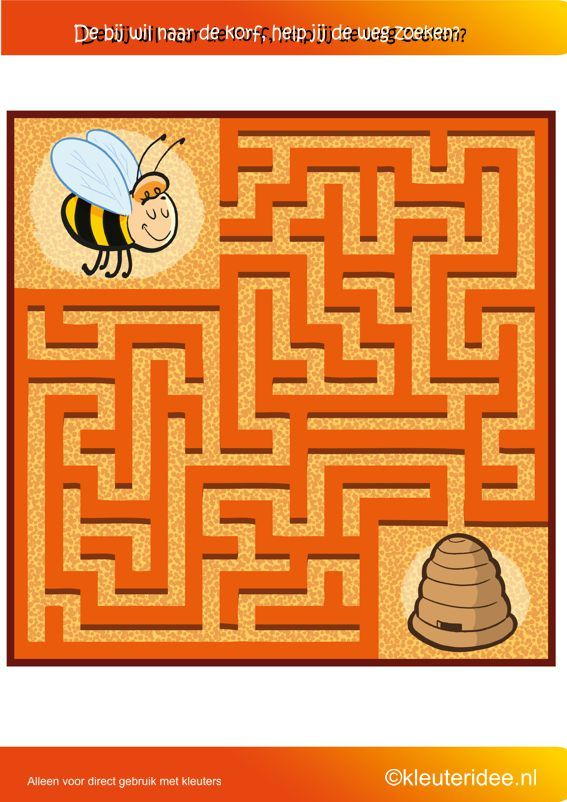 Zoek de weg naar de bijenkorf, thema bijen, kleuteridee.nl , where is the bee hive, free printable.
