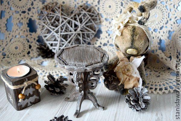 Купить Кукольный столик (столик для фотосессий) - коричневый, интерьерная игрушка, интерьерное украшение, кукольные аксессуары