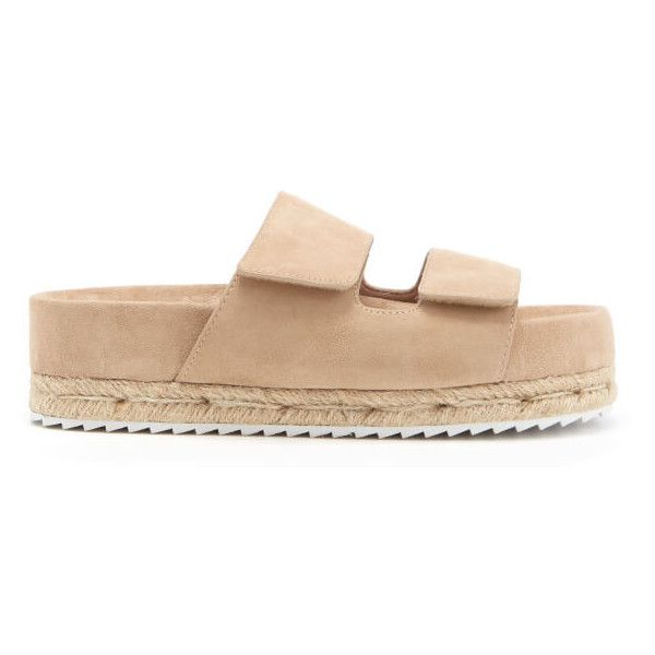 Senso Women's Klayton Suede Double Strap Flatform Sandals - Sand (£145) ❤ liked on Polyvore featuring shoes, sandals, nude, espadrille sandals, slip on sandals, low heel sandals, flat shoes and flatform sandals