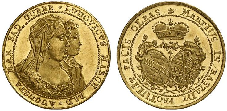 AV Ducat. Germany Coins, Baden, Ludwig Georg  1707-1727-1761, under the regency of his mother Franziska Maria Sibylla Augusta. 1714. 3,48g. F 123. Almost as struck. Price realized 2011: 2.000 USD.