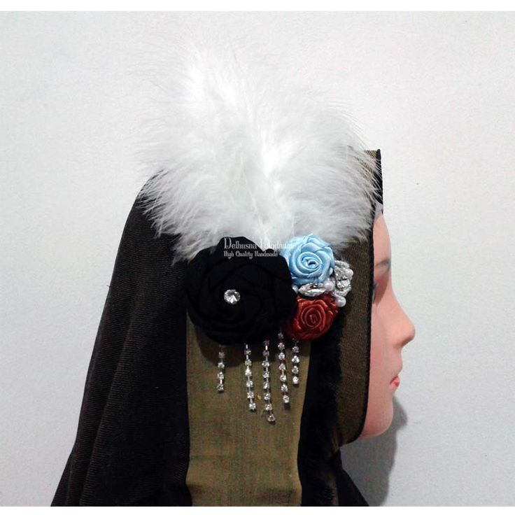 adorable the great gatsby headpiece - handmade fabric flowers with feathers