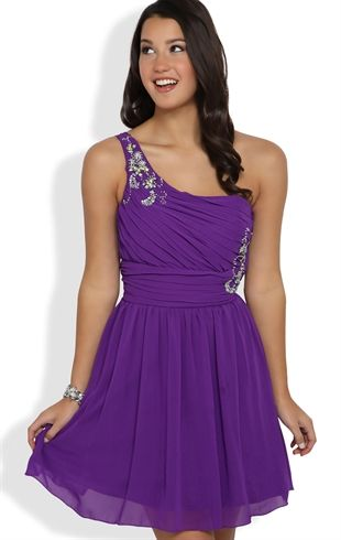 Short Prom Dress with Stone Strap, Illusion Back and Carefree Skirt