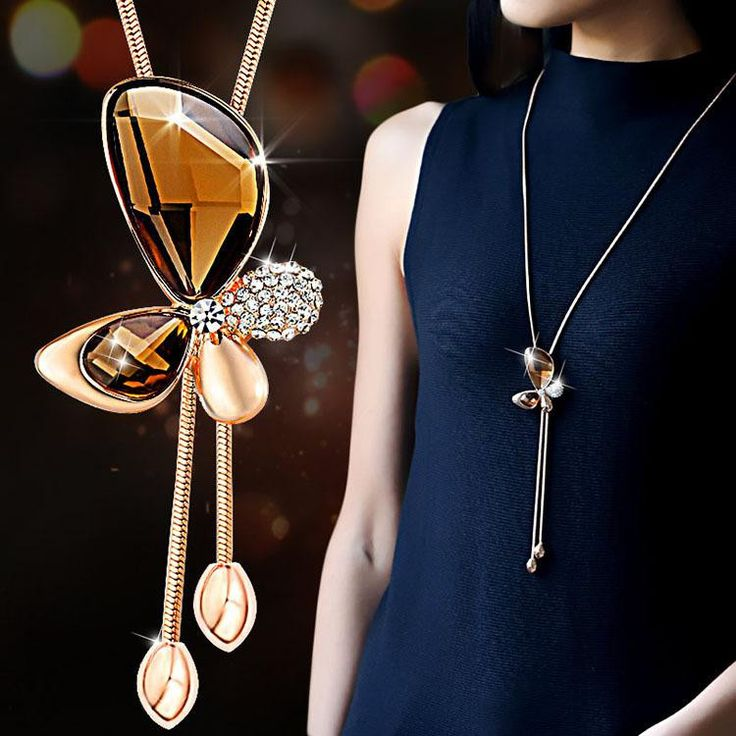 Crystal Butterfly Tassel Long Necklace