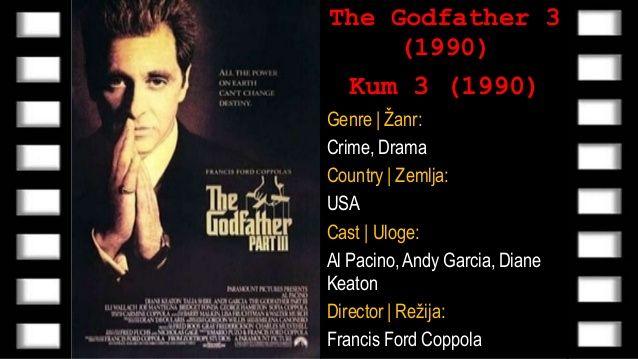The Godfather 3 (Kum 3) 1990 - Online Sa Prevodom | Poslednji deo trilogije prati ostarelog Korleonea koji pokušava da legalizuje porodični biznis, ali ga sprečavaju mlade snage. Godina je 1979. Bogatstvo porodice Korleone meri se ogromnim sumama. Podatak o 100 miliona dolara donacije crkvi i humanitarnim organizacijama na Siciliji dovoljno govore o razmerama njihove moći. Međutim, Korleone će ubrzo shvatiti da oproštaj ne može da kupi novcem. Majkl je već umoran od života sa suprotne…