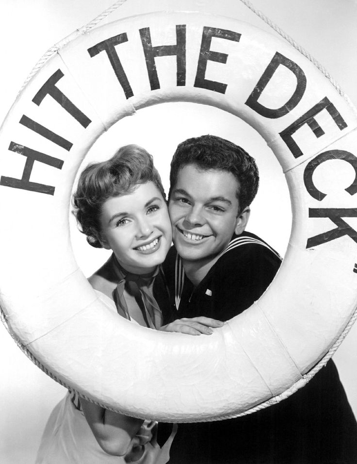 Debbie Reynolds and Russ Tamblyn publicity photo forHit the Deck(1955).