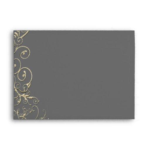 Vintage Gray Gold Swirl Wedding Envelopes