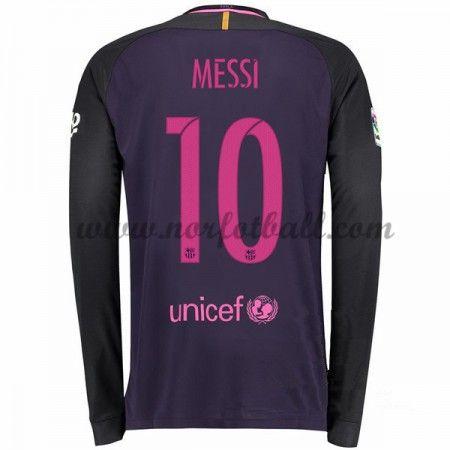 Billige Fotballdrakter Barcelona 2016-17 Messi 10 Borte Draktsett Langermet