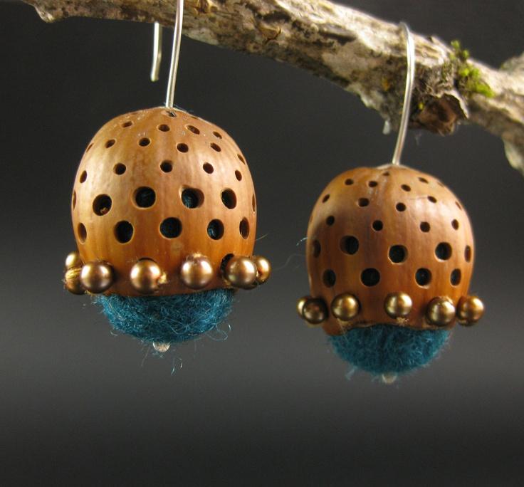 Hazelnut earrings with freshwater pearls and felt. $50.00, via Etsy.