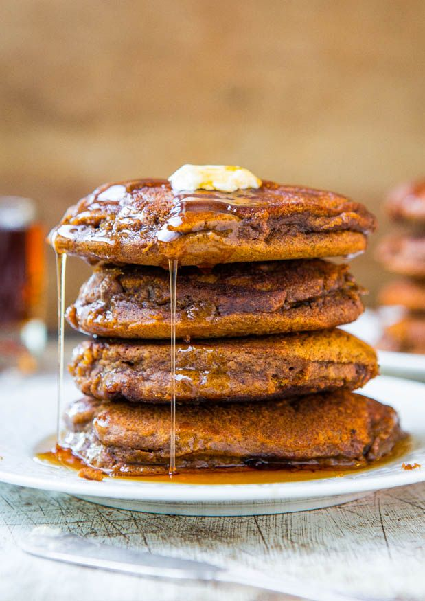 Soft and Fluffy Gingerbread Pancakes with Ginger Molasses Maple Syrup
