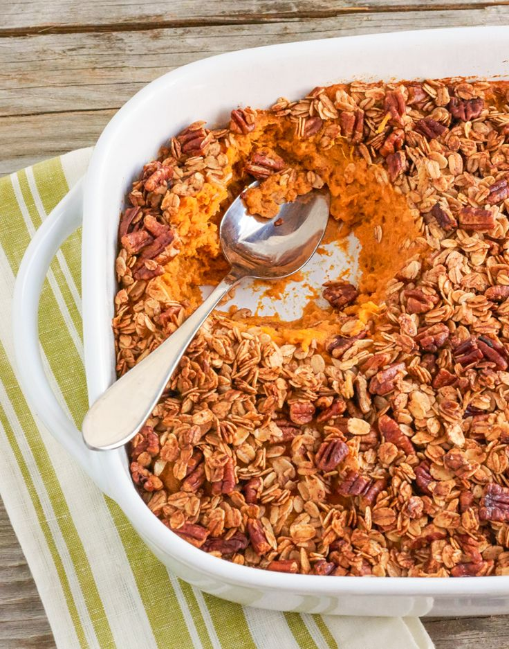 Whether you're looking for a healthy side or dessert, our lightened sweet potato casserole fits the bill.