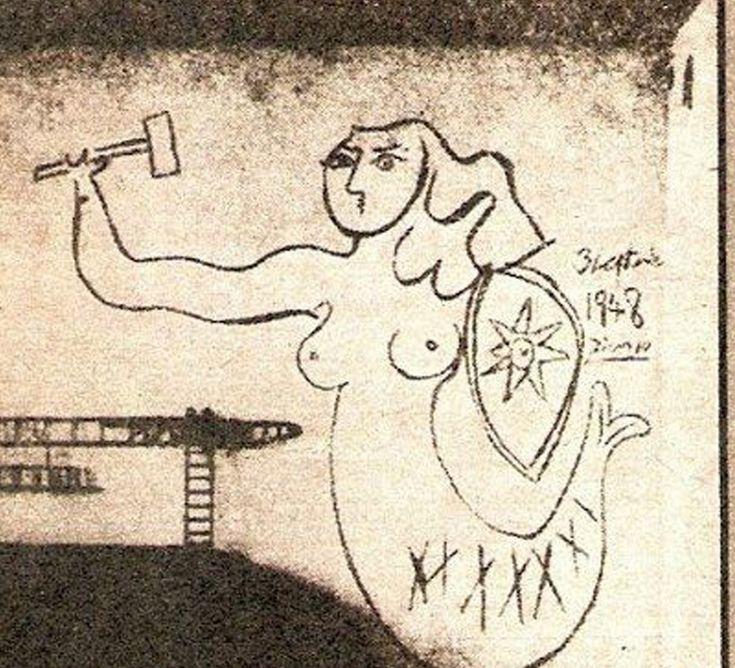 1948 | Syrenka autorstwa Picassa na bloku przy Sitnika 4. | Warszawa Została zamalowana.