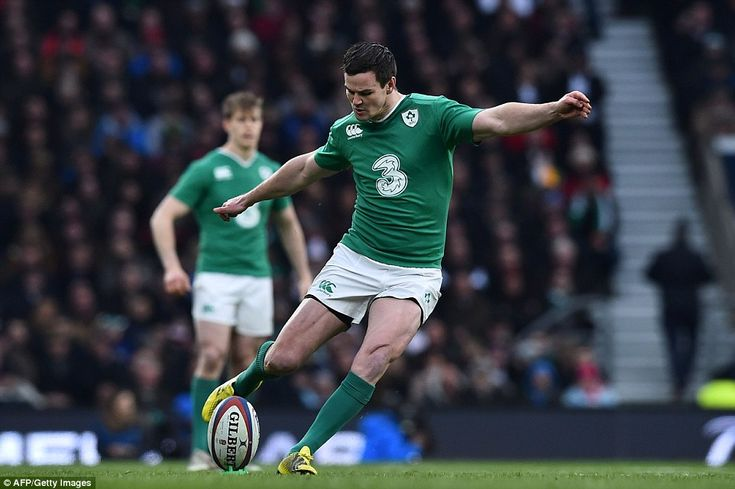 Ireland's full half Johnny Sexton scores a penalty kick during the Six Nations rugby match between England and Ireland at Twickenham
