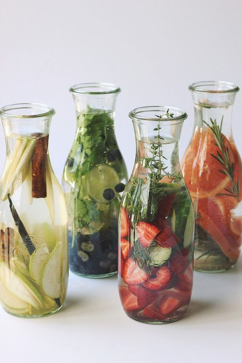 Ginger- Pear- Cinnamon-VanillaBean // Strawberry - Cucumber - Thyme // Grapefruit- Rosemary // Blueberry - Lime - Cilantro