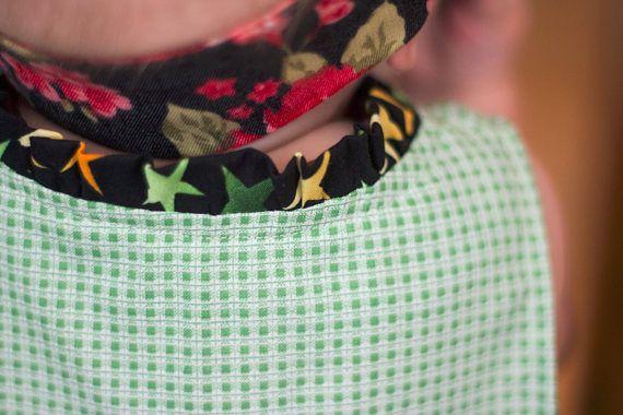 Baby Dress Hand Sewn Size 1 Year Green Black Cotton