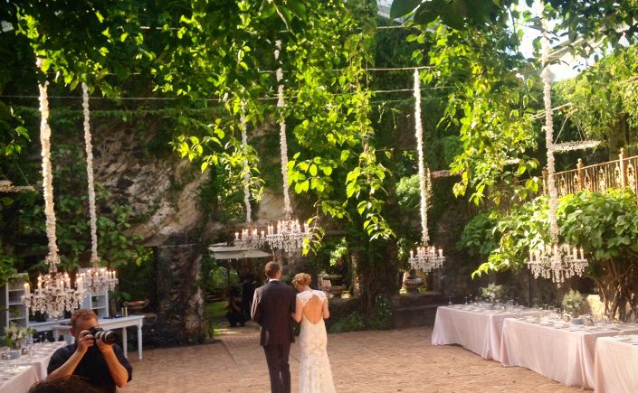 Destination wedding at Haiku Mill Maui Hawaii chandeliers