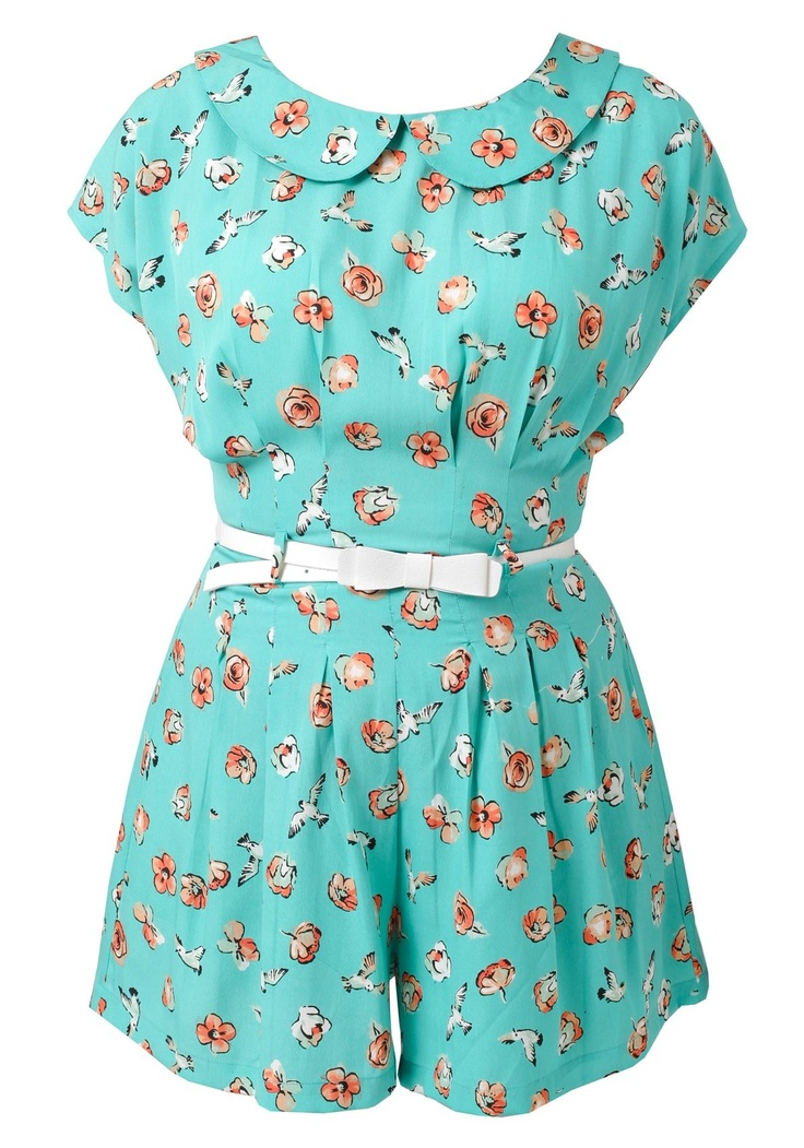 Floral 1950s PlaysuitBirds Prints, Yumi Floral, 1950S Playsuits, Prints Playsuits, Floral 1950S, Bird Prints, 1950S Floral, Floral Birds, Dreams Wardrobes