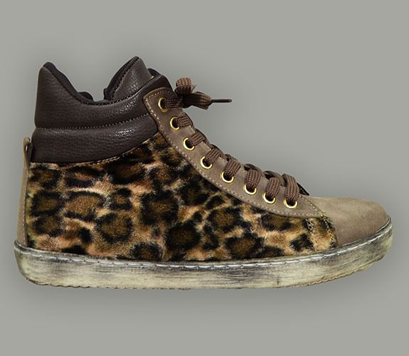 SNEAKERS - MADE IN ITALY, SUEDE, FAUX FUR LEOPARD