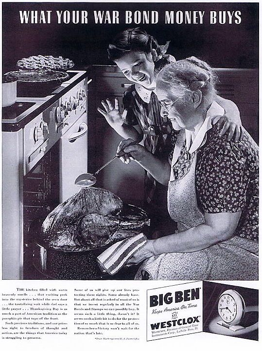 Thanksgiving themed WW2 Westclox ad from 1942. #vintage #Thanksgiving #holidays #ads #1940s #WW2