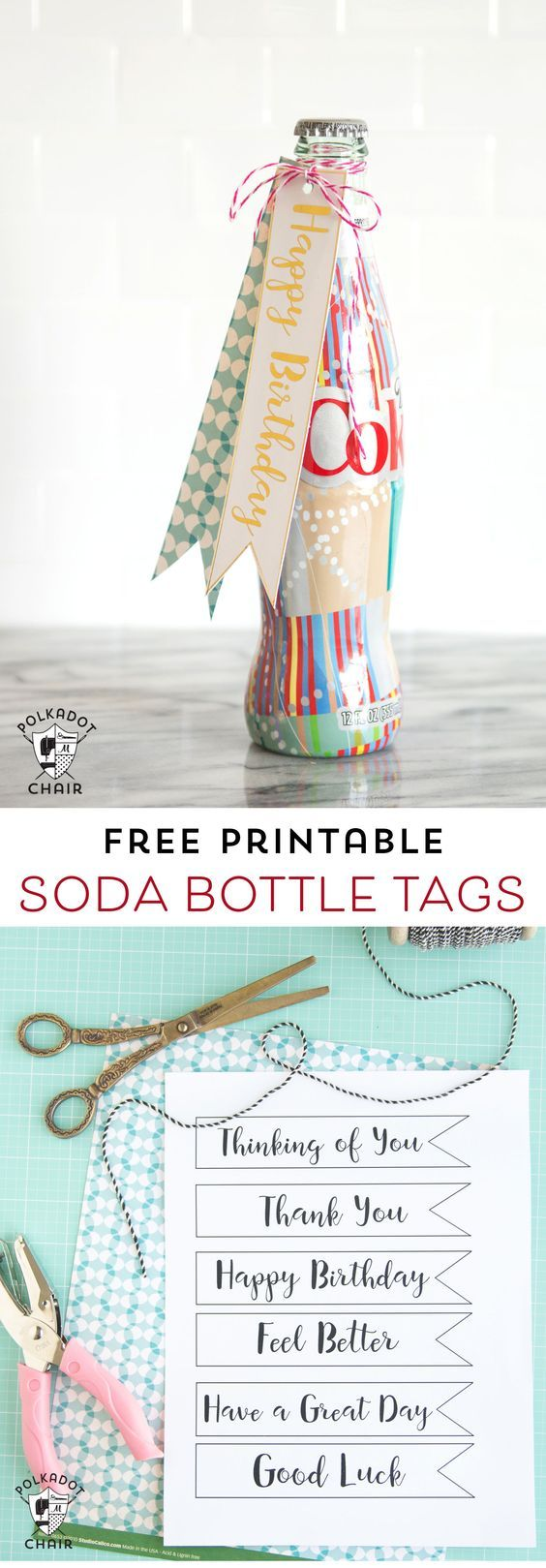 Free Printable Diet Coke Gift Tags; perfect for gifts for teachers - lots of cute gift ideas for friends or neighbors too. Love the Happy Birthday Tags!: