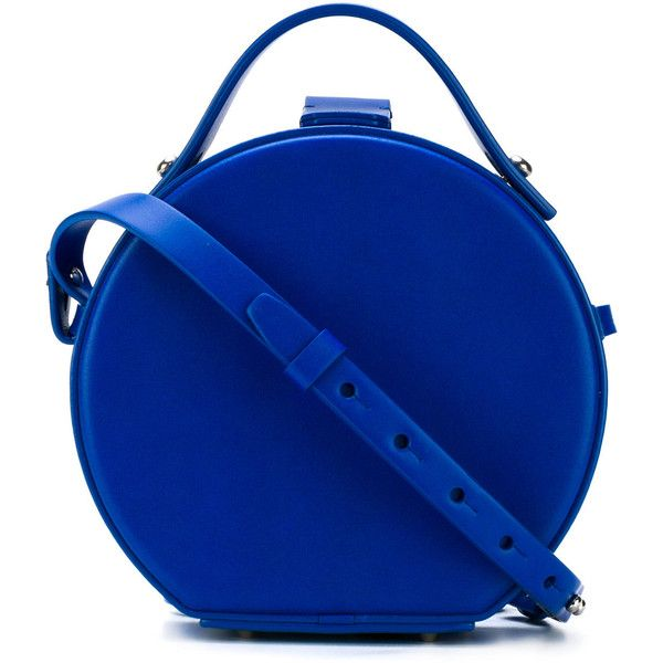 Nico Giani round box shoulder bag (1175 TND) ❤ liked on Polyvore featuring bags, handbags, shoulder bags, blue, shoulder handbags, genuine leather shoulder bag, leather purses, round purse and leather handbags