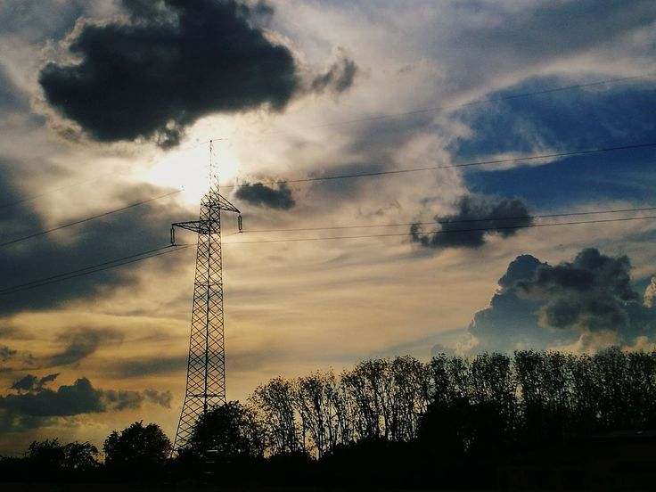 cloud - sky, connection, tree, sky, cable, electricity, low angle view, silhouette, electricity pylon, technology, no people, power supply, fuel and power generation, power line, outdoors, sunset, tranquility, nature, day, beauty in nature
