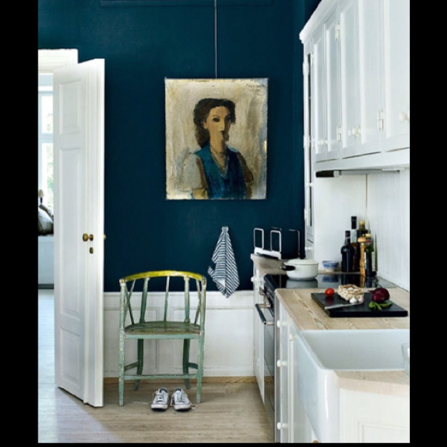 Navy accent wall in kitchen prospect heights pinterest for Kitchen accent wall