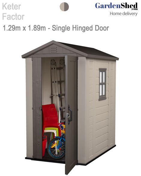 Keter Garden Shed  • 2 year warranty.  Maintenance Free – Too Easy!    BrandKeter  ModelFactor 17197902  Size1.29m(w) x 1.89m(d) x 2.16m(h)  ColoursBeige Brown            Width1.29m  Depth1.89m  Height2.16m  Door Type875 Opening, Single Hinged Door  Roof TypeGable (triangle)  DoorsHinged  Warranty2 Years