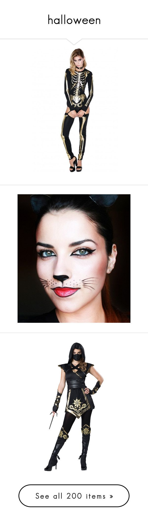 """""""halloween"""" by brunasthefanny ❤ liked on Polyvore featuring costumes, adult costume, sexy nurse costume, sexy cop costume, sexy adult halloween costumes, adult cat costume, beauty products, makeup, eye makeup and eyeliner"""