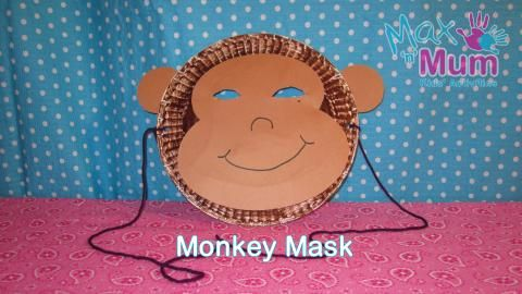 How to Make a Monkey Mask | Max and Mum Kids Activities  Need a mask for the narrator in Lion and the Mouse (to be fair for all the kids)