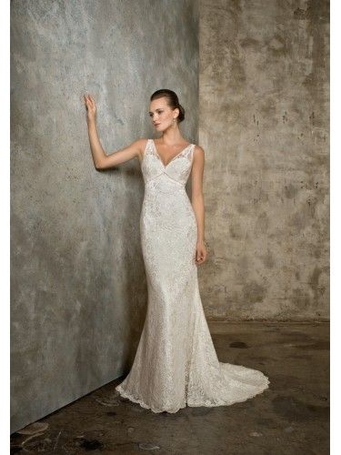 Lace V-neckline Embroidered Bodice Mermaid Wedding Dress