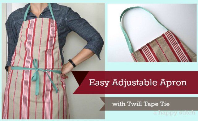 easy adjustable apron with twill tape tie