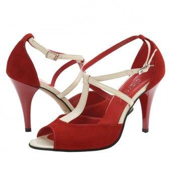 Sandale casual dama Clarette rosu-crem