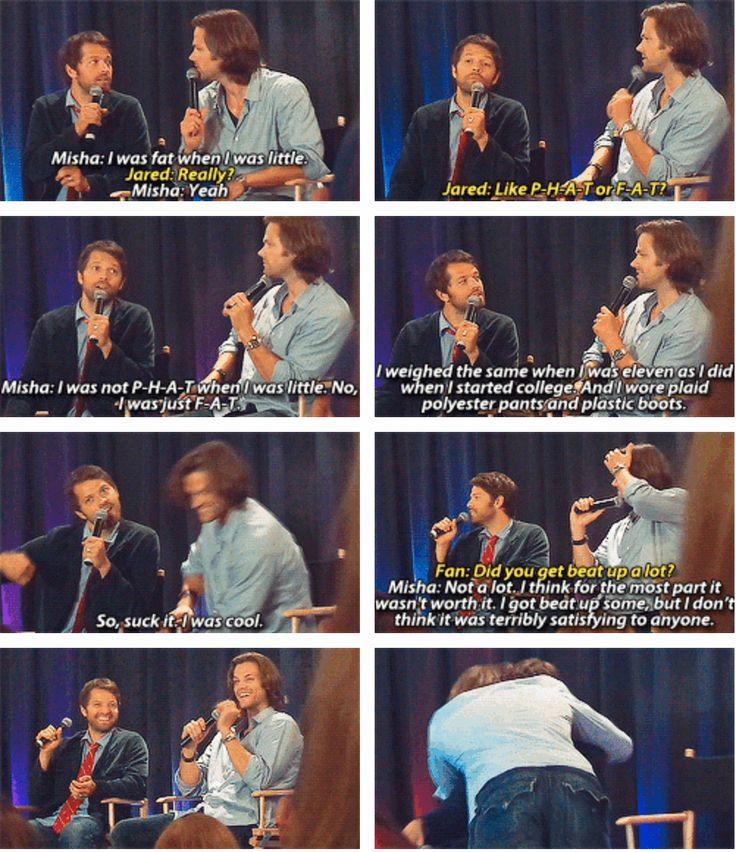 [SET OF GIFS] Misha U0026 Jared Convention Panel Poor Misha, It Was Nice Of  Jarred Though To Give Him A Hug.