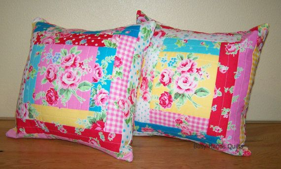 Pillows for Sale, Quilted Pillow, Flower Sugar, Log Cabin Quilt, Girl, Baby Girl, Pillow Cover With Insert Included, Busy Hands Quilts #4
