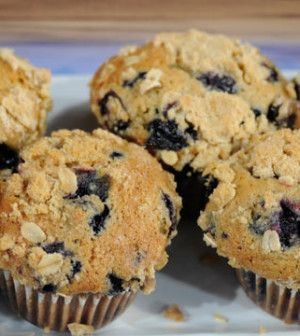Daphne Oz's Browned Butter Whole Wheat Blueberry Muffins