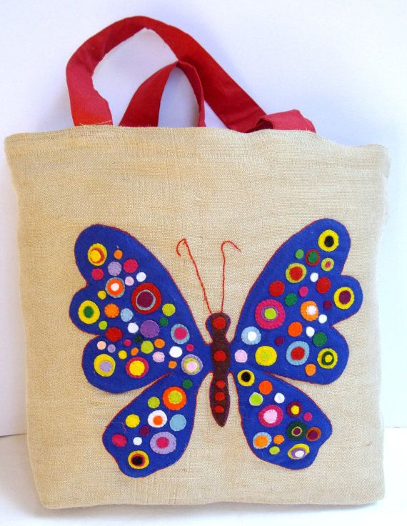 Jute tote bag /Handmade / felt / applique / shopper / by Apopsis, $65.00